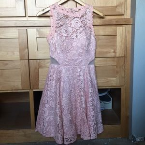 A pink mid length dress